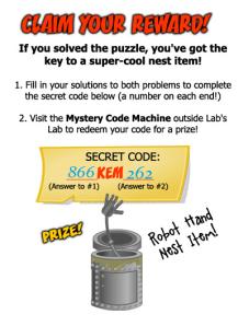 Bin Weevils Weekend Puzzle Challenge Code